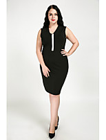 Cute Ann Women's Daily Plus Size Vintage Casual Street chic Shift Dress,Color Block Deep V Knee-length Above Knee Sleeveless Cotton Polyester Fall