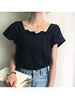 Women's Daily Going out Cute T-shirt,Solid Strap Short Sleeves Cotton Linen