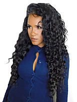 Women Human Hair Lace Wig Malaysian Human Hair 360 Frontal 180% Density With Baby Hair Deep Wave Wig Black Medium Length