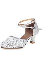 Women's Modern Sparkling Glitter Heel Professional Buckle Sparkling Glitter Cuban Heel Gold Silver