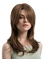 美元素 Mujer Pelucas sintéticas Largo Ondulado Natural Marrón Pelo reflectante/balayage Parte lateral Corte a capas Con flequillo Peluca