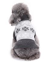 Cane Maglioni Abbigliamento per cani Natale Fiocco di neve Grigio Caffè