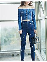 Giacca di jeans Da donna Per uscire Moda città Autunno,Tinta unita Rotonda Altro Standard Manica lunga