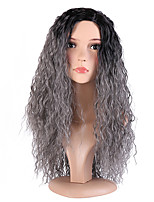 Women Synthetic Wig Capless Long Deep Wave Black/Grey Side Part Ombre Hair Dark Roots Cosplay Wig Costume Wig
