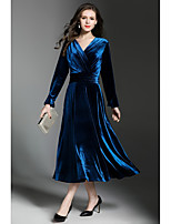 SHE IN SUN Women's Party Casual/Daily Simple Street chic Swing DressSolid V Neck Maxi Long Sleeves Polyester Velvet Fall Winter Mid Rise Inelastic
