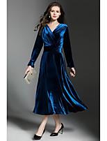 Balançoire Robe Femme Soirée Décontracté / Quotidien simple Chic de Rue,Couleur Pleine Col en V Maxi Manches Longues Polyester Velours