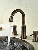 Widespread Ceramic Valve Three Holes Oil-rubbed Bronze , Bathroom Sink Faucet