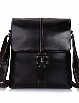 Men Bags All Seasons Cowhide Briefcase Buttons for Casual Black