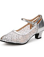 Women's Latin Lace Paillette Tulle Heel Professional Buckle Sparkling Glitter Cuban Heel Gold Black Silver