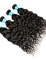 Human Hair Malaysian Natural Color Hair Weaves Water Wave Hair Extensions 4 Pieces Black