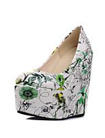 Для женщин Обувь Дерматин Осень Удобная обувь Оригинальная обувь Обувь на каблуках Круглый носок Назначение Свадьба Зеленый Синий Розовый