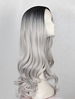 Women Synthetic Wig Capless Long Wavy Black/Grey Middle Part Cosplay Wig Costume Wig