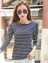 Women's Daily Winter Fall T-shirt,Striped Round Neck Long Sleeves Cotton Spandex