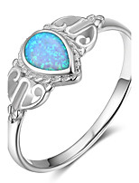 Women's Band Rings Opal Statement Jewelry Sterling Silver Crown Drop Jewelry For Gift Christmas