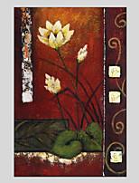 Pintados à mão Floral/Botânico Flor Realismo Pastoril 1 Painel Tela Pintura a Óleo For Decoração para casa