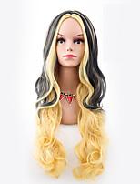 Femme Long Ondulation naturelle Jaune Cheveux Colorés Perruque Halloween Perruque Déguisement