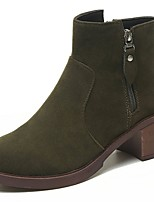Women's Shoes PU Fall Winter Light Soles Boots Flat Heel Round Toe Lace-up For Casual Khaki Green Black