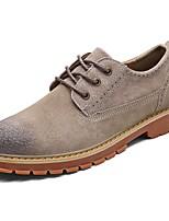 Masculino sapatos Pele Outono Inverno Conforto Botas Cowboy/Country Oxfords Cadarço Para Casual Preto Cinzento Amarelo Khaki