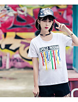 Women's Daily Going out Casual T-shirt,Solid Print Round Neck Short Sleeves Cotton