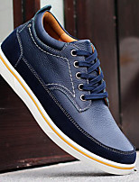 Men's Shoes Cowhide Nappa Leather Spring Fall Light Soles Sneakers For Casual Light Brown Blue Black
