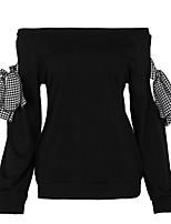Camicia Da donna Per uscire Moda città Autunno,Tinta unita A barca Poliestere Elastene Manica lunga Medio spessore