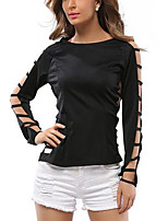 Women's Daily Going out Cute Casual Summer Fall T-shirt,Solid Round Neck Long Sleeves Polyester Medium