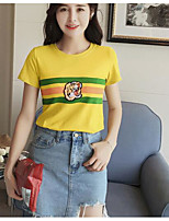 Women's Daily Casual T-shirt,Solid Striped Print Round Neck Short Sleeves Cotton