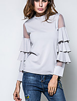 Women's Daily Going out Vintage Chinoiserie Spring Fall T-shirt,Solid Round Neck Long Sleeves Polyester Spandex Medium