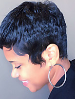 Women Human Hair Capless Wigs Medium Auburn/Bleach Blonde Black Short Straight Side Part