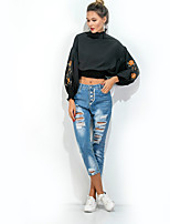 Women's Daily Holiday Street chic Shirt,Embroidery Turtleneck 3/4 Length Sleeves Cotton