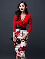 Women's Going out Leisure Fall T-shirt Skirt Suits,Solid Floral V Neck Long Sleeve Acrylic Micro-elastic