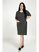 Cute Ann Women's Plus Size Casual/Daily Sexy Vintage Cute Shift Dress,Striped Round Neck Knee-length Half Sleeves Cotton Polyester Summer Mid Rise