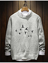 Men's Casual/Daily Simple Regular Pullover,Print Round Neck Long Sleeves Polyester Winter Medium Micro-elastic