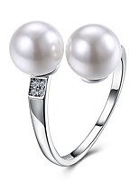 Men's Band Rings Cubic Zirconia Imitation Pearl Cute Style Open Zircon Silver Plated Circle Jewelry For Party Engagement Daily Casual