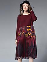 Для женщин На выход На каждый день Платья Свободный силуэт Платье Пэчворк,Круглый вырез Средней длины Длинный рукав Полиэстер Осень Зима
