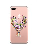 baratos -Capinha Para Apple iPhone X / iPhone 8 / iPhone 8 Plus Transparente / Estampada Capa traseira Animal / Natal Macia TPU para iPhone X / iPhone 8 Plus / iPhone 8