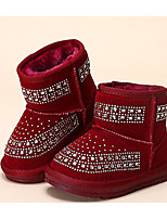 Girls' Shoes Real Leather Fall Winter Fluff Lining Snow Boots Boots For Casual Black Purple Blushing Pink Burgundy