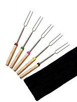 5 Pcs/set BBQ Forks Camping Campfire Stainless Steel Wooden Handle Telescoping Barbecue Roasting Fork Sticks Skewers BBQ Forks