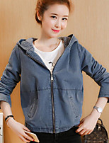 Women's Casual/Daily Simple Fall Denim Jacket,Solid Hooded Long Sleeve Regular Polyester