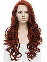 Men Women Synthetic Wig Lace Front Long Wavy Auburn Natural Hairline Drag Wig Party Wig Halloween Wig Cosplay Wig Natural Wigs Costume Wig