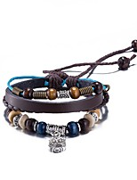 Men's Women's Leather Bracelet Friendship Punk PU Alloy Flower Jewelry Jewelry For Daily Casual Stage Office & Career Street