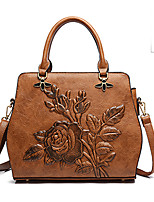 Women Bags All Seasons PU Tote Zipper for Casual Office & Career Red Brown Army Green