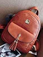 Women Bags PU Backpack Zipper for Casual Outdoor All Seasons Brown Black Gray Dark Brown