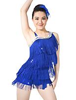 Latin Dance Dresses Sequins Women's Children's Performance Elastic Sequined Lycra Tassel(s) Paillette Sleeveless Natural Dresses