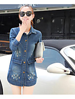 Women's Casual/Daily Simple Fall Denim Jacket,Solid Shirt Collar Long Sleeve Long Cotton