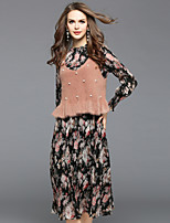 EWUS Women's Going out Casual/Daily Street chic Swing DressFloral Round Neck Midi Long Sleeves Polyester Fall Mid Rise Inelastic Translucent