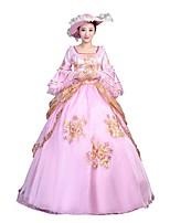 Victorien Rococo Féminin Adulte Costume de Soirée Bal Masqué Rose Cosplay Manches 3/4 Longueur Sol