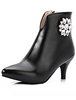 Women's Shoes PU Leatherette Fall Winter Comfort Novelty Bootie Boots Stiletto Heel Pointed Toe Booties/Ankle Boots Rhinestone For Party