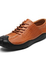 Men's Shoes Cowhide Leatherette Fall Winter Comfort Sneakers Split Joint For Casual Brown Black