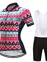 Camisa com Bermuda Bretelle Mulheres Manga Curta Moto Conjuntos de Roupas Tapete 3D Geométrica Riscas Primavera Verão Ciclismo/Moto